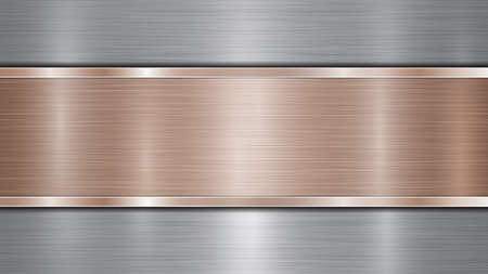 Background consisting of a silver shiny metallic surface and one horizontal polished bronze plate located centrally, with a metal texture, glares and burnished edges Illustration