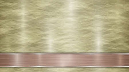 Background consisting of a golden shiny metallic surface and one horizontal polished bronze plate located below, with a metal texture, glares and burnished edges