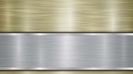Background consisting of a golden shiny metallic surface and one horizontal polished silver plate located below, with a metal texture, glares and burnished edges