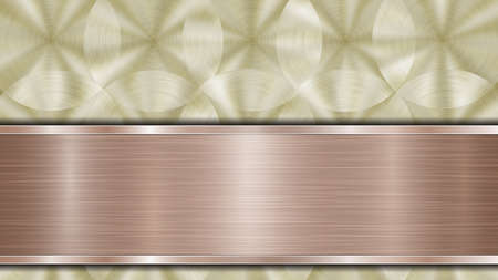 Background consisting of a golden shiny metallic surface and one horizontal polished bronze plate located below, with a metal texture, glares and burnished edges 向量圖像