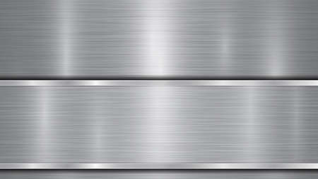 Background in silver and gray colors, consisting of a shiny metallic surface and one horizontal polished plate located below, with a metal texture, glares and burnished edges