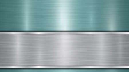 Arrière-plan composé d'une surface métallique brillante bleu clair et d'une plaque d'argent polie horizontale située en dessous, avec une texture métallique, des reflets et des bords brunis