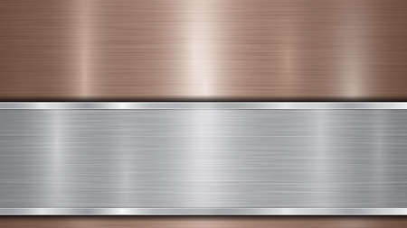 Background consisting of a bronze shiny metallic surface and one horizontal polished silver plate located below, with a metal texture, glares and burnished edges 向量圖像