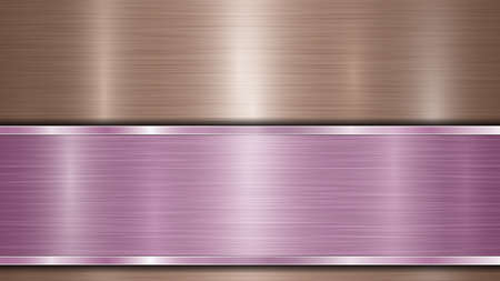 Background consisting of a bronze shiny metallic surface and one horizontal polished purple plate located below, with a metal texture, glares and burnished edges