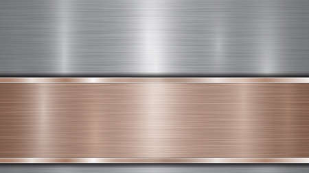 Background consisting of a silver shiny metallic surface and one horizontal polished bronze plate located below, with a metal texture, glares and burnished edges