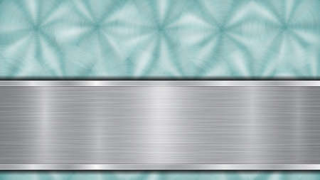 Background consisting of a light blue shiny metallic surface and one horizontal polished silver plate located below, with a metal texture, glares and burnished edges