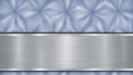 Background consisting of a blue shiny metallic surface and one horizontal polished silver plate located below, with a metal texture, glares and burnished edges