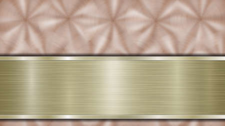 Background consisting of a bronze shiny metallic surface and one horizontal polished golden plate located below, with a metal texture, glares and burnished edges