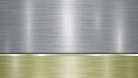 Background consisting of a silver shiny metallic surface and one horizontal polished golden plate located below, with a metal texture, glares and burnished edges