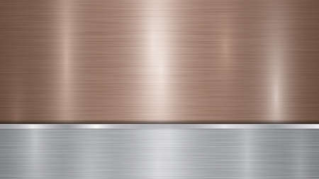 Background consisting of a bronze shiny metallic surface and one horizontal polished silver plate located below, with a metal texture, glares and burnished edges