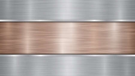 Background consisting of a bronze shiny metallic surface and two horizontal polished silver plates located above and below, with a metal texture, glares and burnished edges