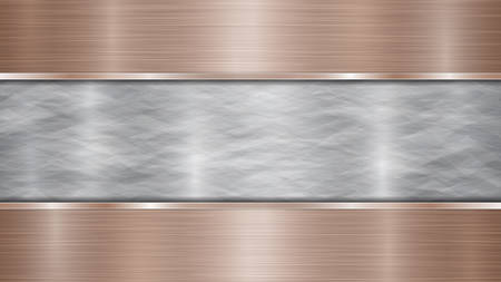 Background consisting of a silver shiny metallic surface and two horizontal polished bronze plates located above and below, with a metal texture, glares and burnished edges Illustration