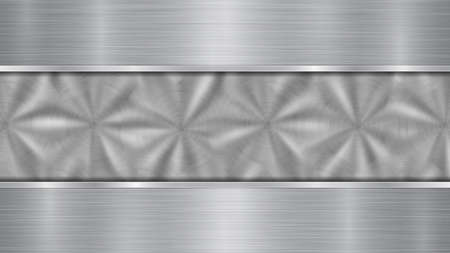 Background in silver and gray colors, consisting of a shiny metallic surface and two horizontal polished plates located above and below, with a metal texture, glares and burnished edges