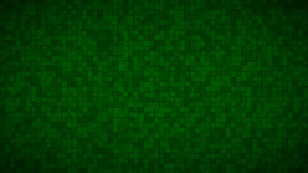 Abstract background of small squares or pixels in dark green colors
