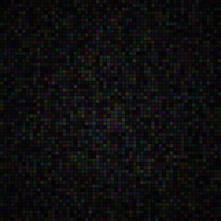 Abstract illustration of small multicolored squares or pixels on black background