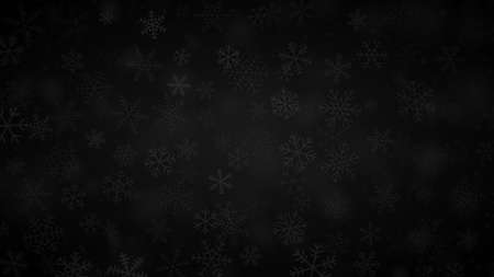 Christmas background of snowflakes of different shapes, sizes and transparency in black and gray colors