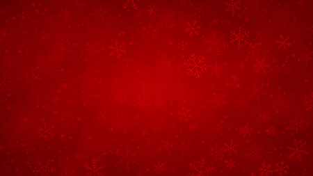 Christmas background of snowflakes of different shapes, sizes and transparency in red colors Иллюстрация
