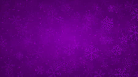 Christmas background of snowflakes of different shapes, sizes and transparency in purple colors