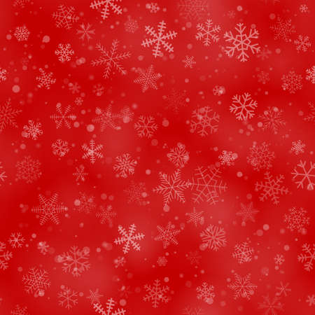 Christmas seamless pattern of snowflakes of different shapes, sizes, and transparency, on a red background