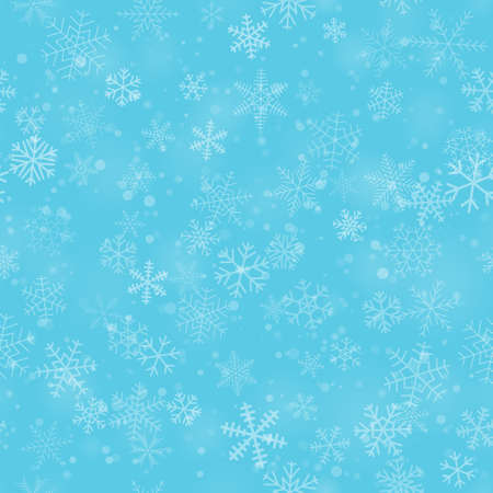Christmas seamless pattern of snowflakes of different shapes, sizes, and transparency, on light blue background