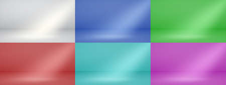 Set of empty studio backgrounds with soft lighting in white, red, light blue, purple, blue and green colors