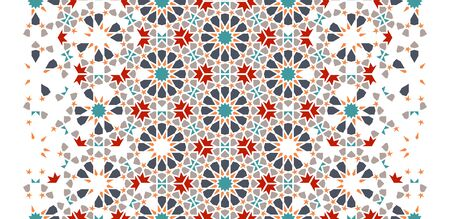 Morocco seamless vector pattern. Geometric halftone texture with color tile disintegration.