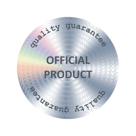 Official product round hologram sticker. Vector medal, prize, award for label design 矢量图像