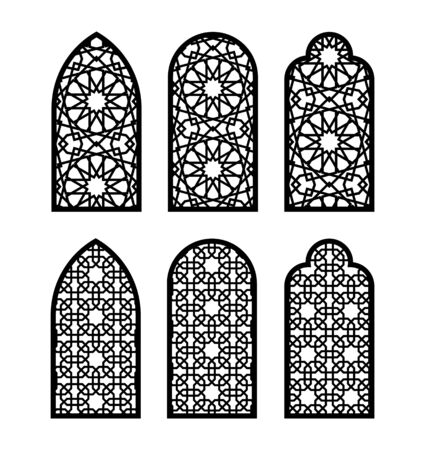 Arabesque arch window or door set. Cnc pattern, laser cutting, vector template set for wall decor, hanging, stencil, engraving. Arabesque faux window, arch, jali design.