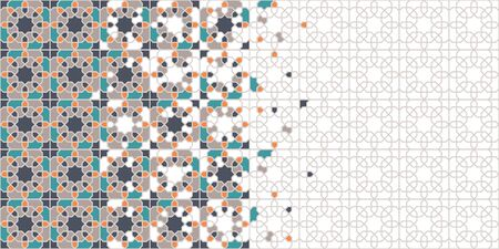 Arabic tile vector seamless pattern. Geometric halftone texture with colorful arabesque disintegration 矢量图像