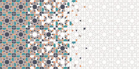 Arabic tile vector seamless pattern. Geometric halftone texture with colorful arabesque disintegration 向量圖像