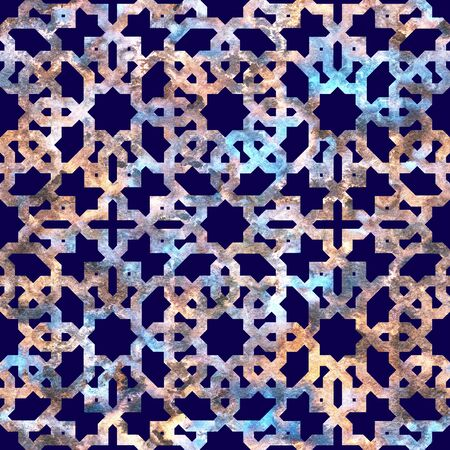 Geometric rainbow grid in neon colors on a dark navy blue background. Seamless pattern Stock Photo