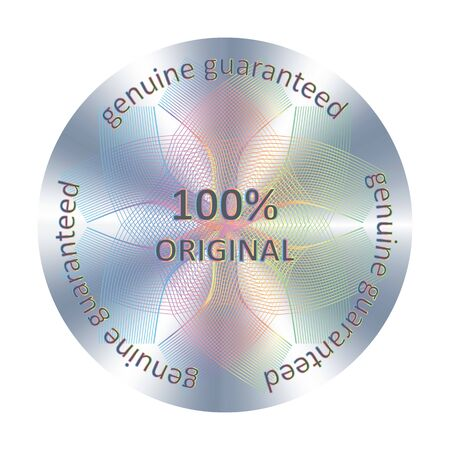 Original round hologram sticker. Vector element for product quality guarantee