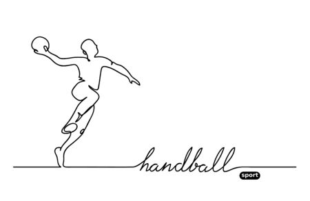 Handball player. Vector minimalistic banner. Handball sport event. One continuous line drawing. Vettoriali