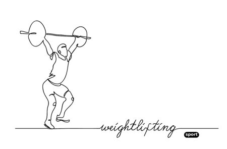 Weightlifting competition. Vector minimalistic banner. weightlifting sport event. One continuous line drawing. Vectores