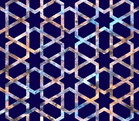 Geometry rainbow grid with stars in neon colors on a dark navy blue background. Arab seamless pattern