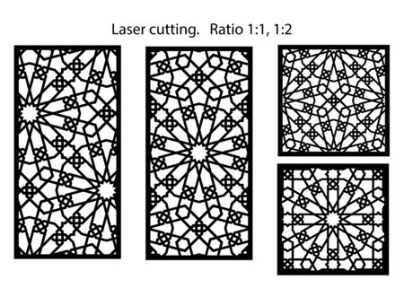 Cnc set of decorative vector panels for laser cutting. Template for interior partition in arabesque style. Aspect ratio 1:1,1:2