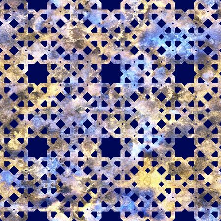 Geometric colorful grid on a dark background in arabesque style. Seamless pattern textured with melange background.