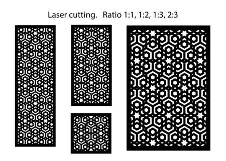 Set of decorative vector panels for laser cutting. Template for interior partition in arabesque style. Reklamní fotografie