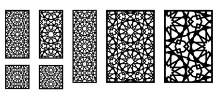 Set of decorative moroccan vector panels for laser cutting. Template for interior partition in arabesque style.