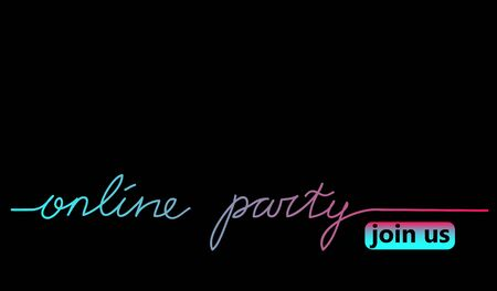 Online party black web banner, background with tiktok colors. Lettering Online concert and join button. Minimalist black poster for tik tok.