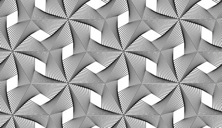 Guilloche vector seamless pattern. Windmill black and white background, texture with thin lines.
