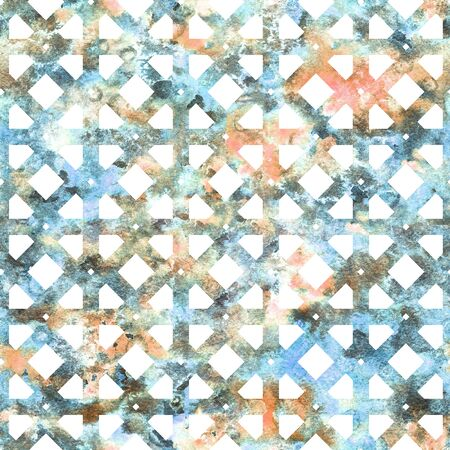 Geometric colorful grid in arabesque style. Seamless pattern