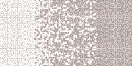 Arab tile repeating vector border, background, wallpaper. Geometric halftone pattern with color arabesque disintegration Ilustração