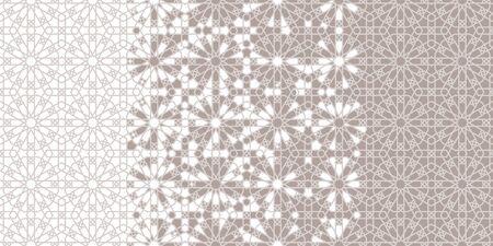 Arab tile repeating vector border, background, wallpaper. Geometric halftone pattern with color arabesque disintegration Illustration