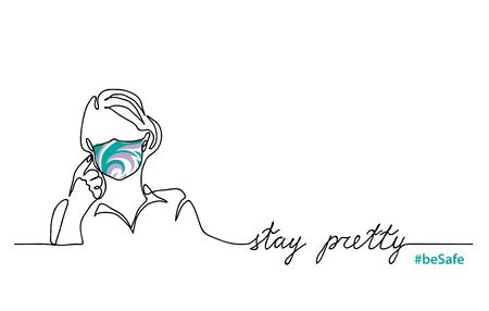 Stay pretty, be safe simple vector web banner, background. Girl in color face mask. Face mask design, fashion. One continuous line drawing.