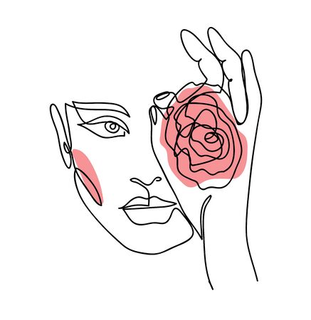 One line art woman, girl. Portrait, face with rose. Simple, minimalist vector illustration of beautiful woman. Continuous line drawing