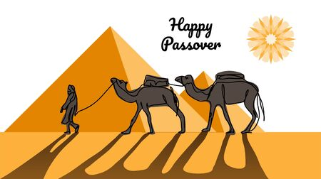Happy passover, jewish holiday pesach. Vector illustration of passover with desert, egyptian pyramids, caravan, camels.