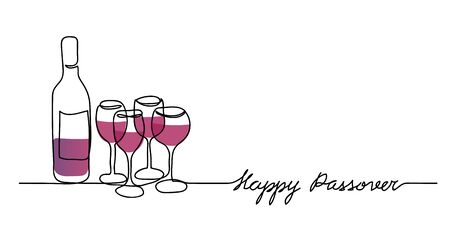Wine bottle and four wine glasses vector illustration. Happy passover, jewish holiday pesach. One continuous line drawing 向量圖像