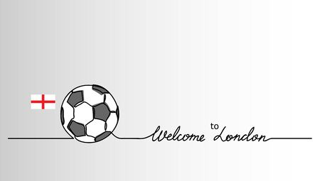 Welcome to London simple soccer, football banner. Minimalistic vector background with football ball sketch and English flag with lettering.