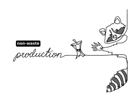 No waste, zero waste vector concept. Rational use, non-waste production illustration. One continuous line drawing of raccoon and apple core.